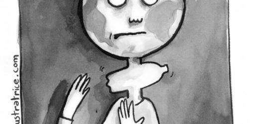 Illustration d'une planète qui avale une bouteille.