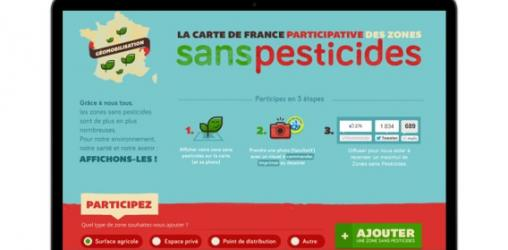 La cartes de France participative des Zones sans Pesticides