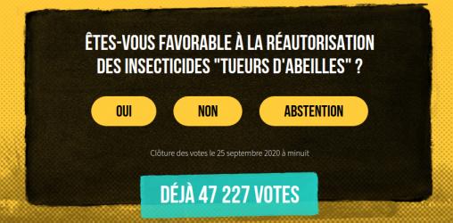 votation citoyenne pour ou contre la ré-autorisation des néonicotinoïdes