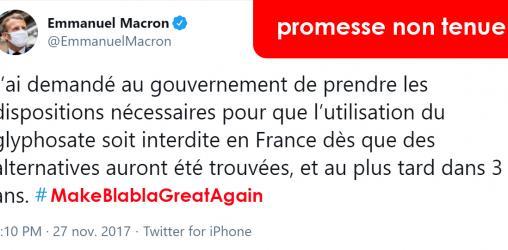 visuel du tweet d'Emanuelle Macron s'engageant à sortir du glyphosate