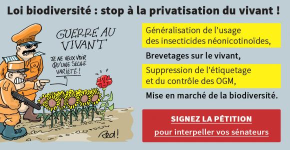 PÉTITION - Loi biodiversité : stoppons la privatisation du vivant !